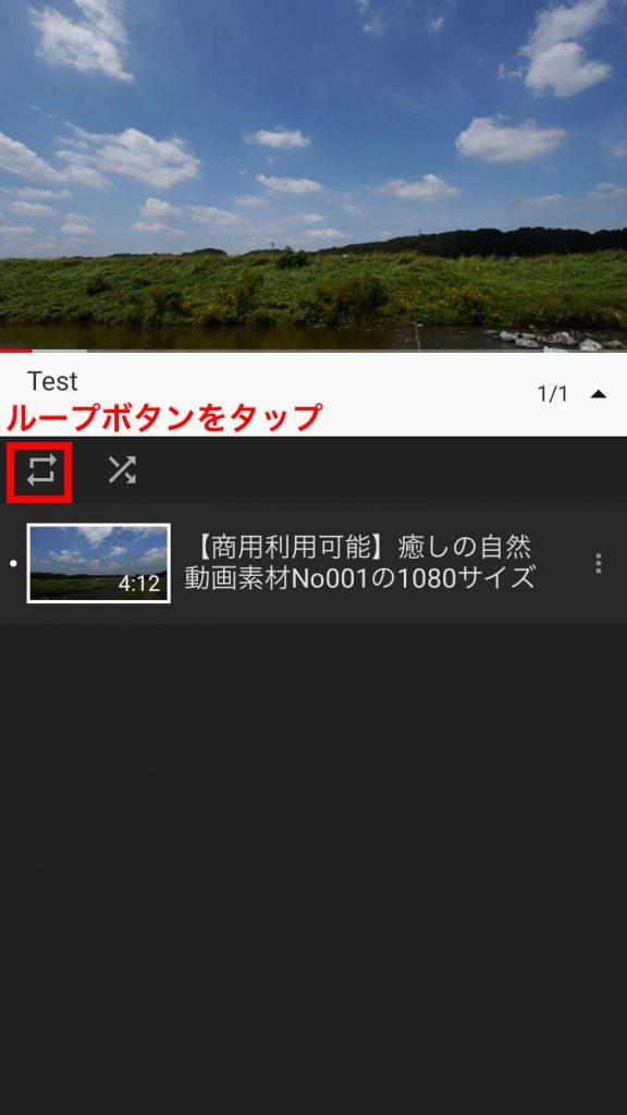 動画の左下にある「ループボタン」をタップの説明用スクリーンショット